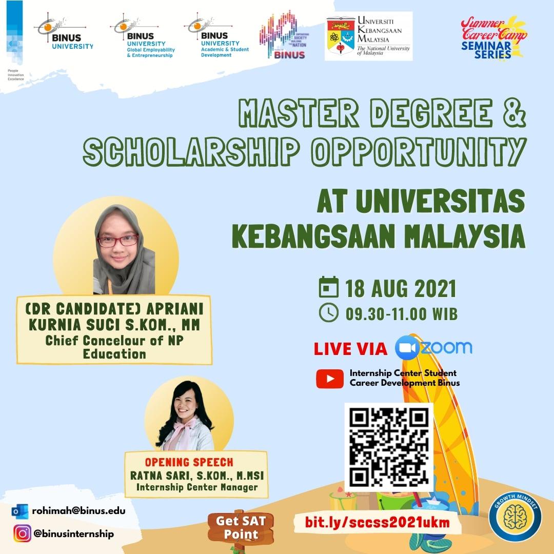 FURTHER STUDY & SCHOLARSHIP OPPORTUNITY - Universitas Kebangsaan Malaysia