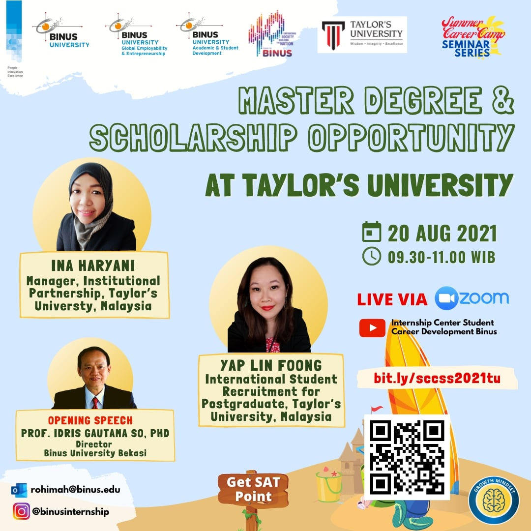 FURTHER STUDY & SCHOLARSHIP OPPORTUNITY: Taylor's Univerity Malaysia